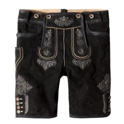 Lederhose mit Träger schwarz