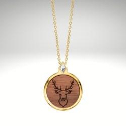 Halskette Holz Gold
